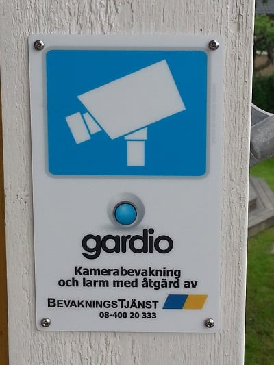 Kameraskylt Gardio