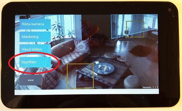 Välj den blå knappen för djurfilter på kamerans inställningar